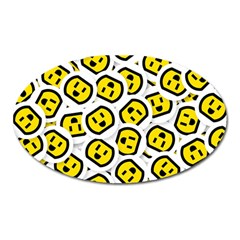 Face Smile Yellow Copy Oval Magnet