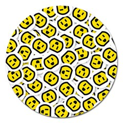 Face Smile Yellow Copy Magnet 5  (Round)