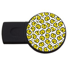 Face Smile Yellow Copy USB Flash Drive Round (2 GB)