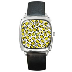 Face Smile Yellow Copy Square Metal Watch