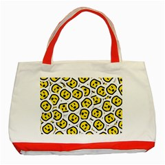 Face Smile Yellow Copy Classic Tote Bag (Red)