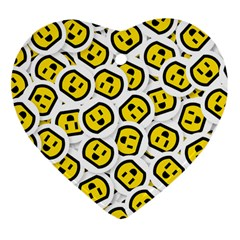 Face Smile Yellow Copy Heart Ornament (2 Sides)