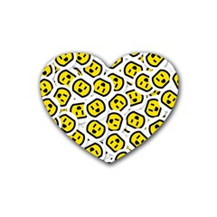 Face Smile Yellow Copy Heart Coaster (4 pack)