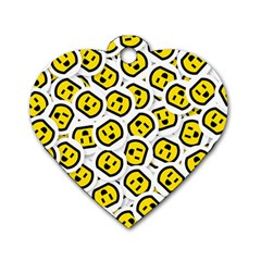 Face Smile Yellow Copy Dog Tag Heart (One Side)