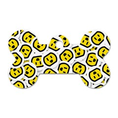 Face Smile Yellow Copy Dog Tag Bone (Two Sides)