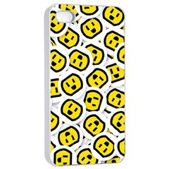 Face Smile Yellow Copy Apple iPhone 4/4s Seamless Case (White)