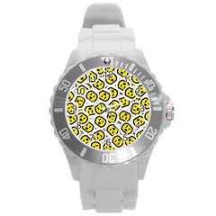 Face Smile Yellow Copy Round Plastic Sport Watch (L)