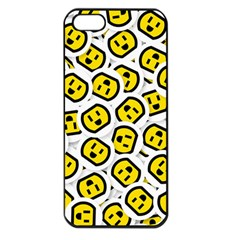 Face Smile Yellow Copy Apple iPhone 5 Seamless Case (Black)