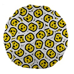 Face Smile Yellow Copy Large 18  Premium Round Cushions