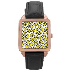 Face Smile Yellow Copy Rose Gold Leather Watch