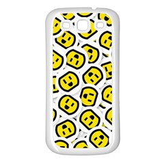 Face Smile Yellow Copy Samsung Galaxy S3 Back Case (White)