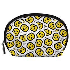 Face Smile Yellow Copy Accessory Pouches (Large)