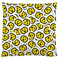 Face Smile Yellow Copy Large Flano Cushion Case (One Side)