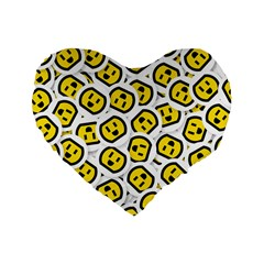 Face Smile Yellow Copy Standard 16  Premium Flano Heart Shape Cushions