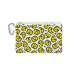 Face Smile Yellow Copy Canvas Cosmetic Bag (S)
