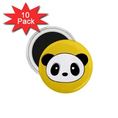 Face Panda Cute 1.75  Magnets (10 pack)