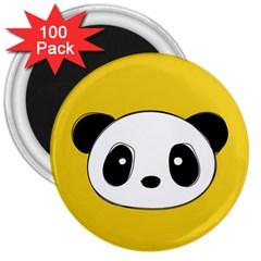 Face Panda Cute 3  Magnets (100 pack)