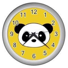 Face Panda Cute Wall Clocks (Silver)