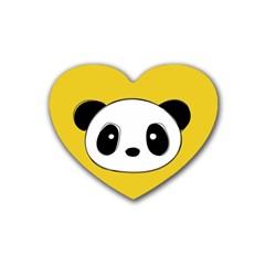 Face Panda Cute Rubber Coaster (Heart)