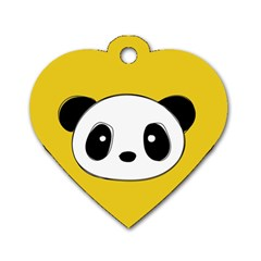 Face Panda Cute Dog Tag Heart (One Side)