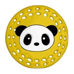 Face Panda Cute Ornament (Round Filigree)