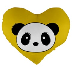 Face Panda Cute Large 19  Premium Heart Shape Cushions