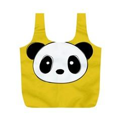 Face Panda Cute Full Print Recycle Bags (M)