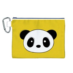 Face Panda Cute Canvas Cosmetic Bag (L)