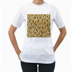 Face Cute Dog Women s T-Shirt (White) (Two Sided)