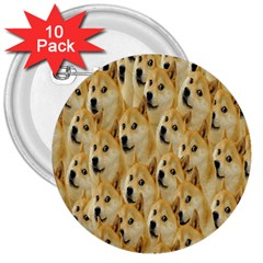 Face Cute Dog 3  Buttons (10 pack)