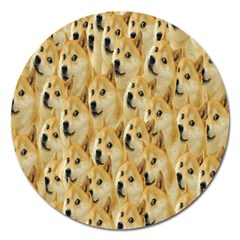 Face Cute Dog Magnet 5  (Round)