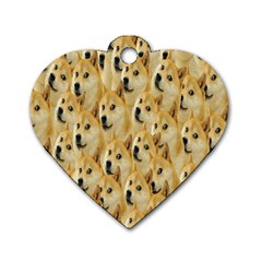 Face Cute Dog Dog Tag Heart (One Side)