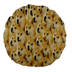 Face Cute Dog Large 18  Premium Round Cushions