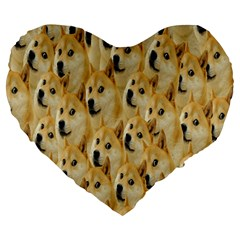 Face Cute Dog Large 19  Premium Heart Shape Cushions