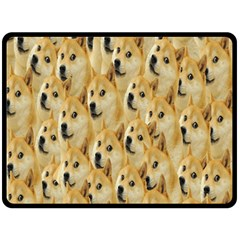 Face Cute Dog Double Sided Fleece Blanket (Large)