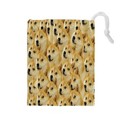 Face Cute Dog Drawstring Pouches (Large)