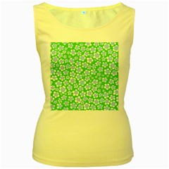 Flower Green Copy Women s Yellow Tank Top