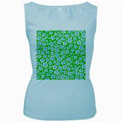 Flower Green Copy Women s Baby Blue Tank Top