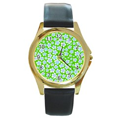 Flower Green Copy Round Gold Metal Watch