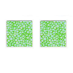 Flower Green Copy Cufflinks (Square)