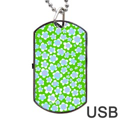 Flower Green Copy Dog Tag USB Flash (One Side)