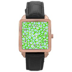 Flower Green Copy Rose Gold Leather Watch