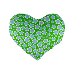 Flower Green Copy Standard 16  Premium Flano Heart Shape Cushions