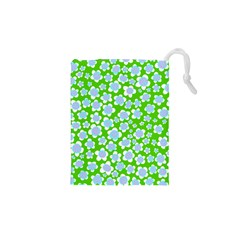 Flower Green Copy Drawstring Pouches (XS)