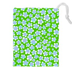 Flower Green Copy Drawstring Pouches (XXL)