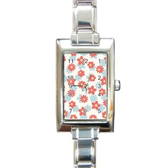 Flower Pink Rectangle Italian Charm Watch
