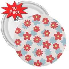 Flower Pink 3  Buttons (10 pack)