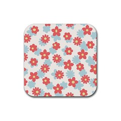 Flower Pink Rubber Coaster (Square)