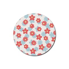 Flower Pink Rubber Round Coaster (4 pack)