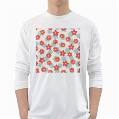 Flower Pink White Long Sleeve T-Shirts